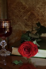 Preview iPhone wallpaper Wine, red rose, book, still life