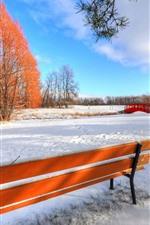 Winter, snow, bench, trees, bridge, park