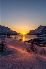 Winter, snow, lake, sunset, trees, mountains