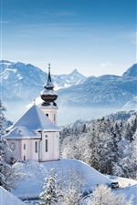 Preview iPhone wallpaper Winter, snow, trees, snowflakes, church, mountains