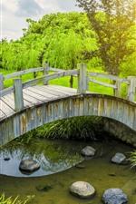 Preview iPhone wallpaper Wood bridge, river, green plants, park, sunshine