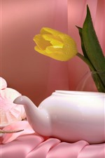 Preview iPhone wallpaper Yellow tulip, teapot, tea, cakes