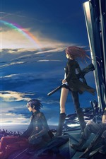 Preview iPhone wallpaper Anime girl and boy, future city, rainbow