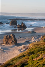 Preview iPhone wallpaper Beach, coast, sea, lighthouse, slope