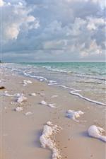Preview iPhone wallpaper Beach, foam, waves, sea, clouds, tropical