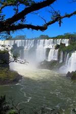 Beautiful waterfalls, trees, river