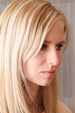 Blonde girl, face, room
