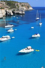 Preview iPhone wallpaper Blue sea, yachts, coast, tropical