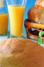 Preview iPhone wallpaper Bread, orange juice, breakfast