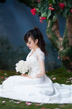 Preview iPhone wallpaper Bride, white skirt, Asian girl, flowers