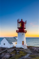 Preview iPhone wallpaper Cape, lighthouse, sea, sunset
