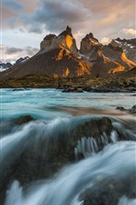 Preview iPhone wallpaper Chile, Patagonia, Andes mountains, river, clouds
