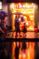 Preview iPhone wallpaper China, city, night, street, shop, rainy, umbrella, people