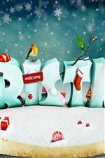 Christmas, birds, snow, art picture