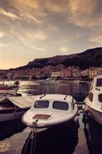 Croatia, boats, houses, river