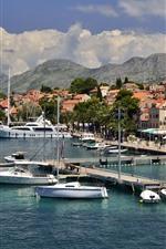 Croatia, pier, yacht, trees