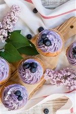 Preview iPhone wallpaper Cupcakes, purple cream, flowers, blueberries