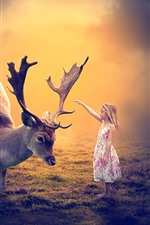 Preview iPhone wallpaper Cute little girl and deer, friends, hornes