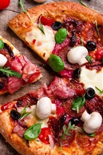 Preview iPhone wallpaper Delicious pizza, food, tomatoes, mushroom
