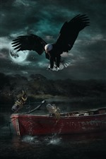 Preview iPhone wallpaper Eagle, fish, boat, moon, river, night, creative design