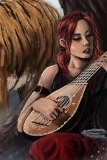 Menina e tigre, violino, pintura de arte