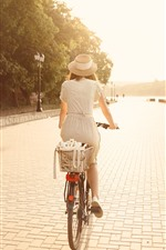 Preview iPhone wallpaper Girl, back view, bike, sunshine