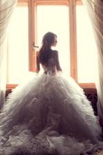 Preview iPhone wallpaper Girl, bride, back view, window