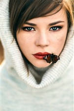 Preview iPhone wallpaper Girl, butterfly, mouth, sweater