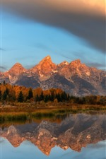 Preview iPhone wallpaper Grand Teton National Park, mountains, trees, clouds, water reflection
