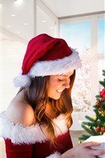 Preview iPhone wallpaper Happy Christmas girl, tree, gift
