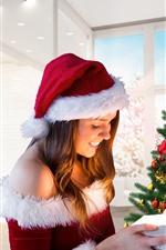 Vorschau des iPhone Hintergrundbilder Frohe Weihnachten Mädchen, Baum, Geschenk