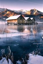 Houses, snow, lake, winter, mountains