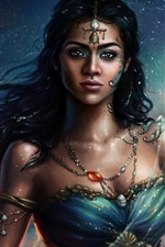 Preview iPhone wallpaper Indian girl, princesses, stars, fantasy picture