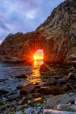 Preview iPhone wallpaper Japan, arch, rocks, sea, sun rays, glare