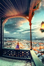iPhone обои Фонарь, ветер, город, маленькая девочка, снег