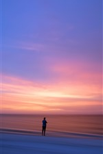 Preview iPhone wallpaper Lonely person, sunset, sea