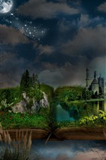Preview iPhone wallpaper Magic book, grass, castle, moon, trees, birds, night, creative picture