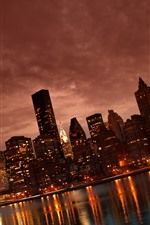 Preview iPhone wallpaper Manhattan, city at night, skyscrapers, lights, river, USA