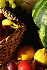 Preview iPhone wallpaper Many kinds of fruit, watermelon, peach, grapes, lemon, apples, basket