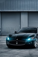 Preview iPhone wallpaper Maserati GT blue sports car, headlight