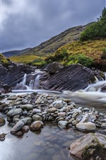 Mountain, stones, creek, water
