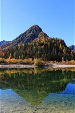 Preview iPhone wallpaper Mountains, trees, autumn, lake, clear water