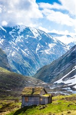 Preview iPhone wallpaper Norway, mountain, hut, white clouds, sunshine