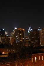 Philadelphia, city, night, USA