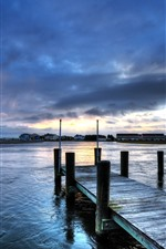 Pier, river, houses, clouds, sunset