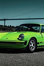 Preview iPhone wallpaper Porsche 911 Carrera 1974 green supercar