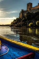 Preview iPhone wallpaper Portugal, castle, boat, river