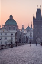 Preview iPhone wallpaper Prague, Charles bridge, morning, fog