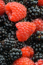 Preview iPhone wallpaper Raspberry and blackberry, milk