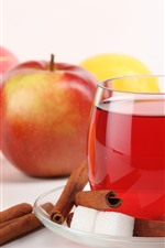 Preview iPhone wallpaper Red and green apples, lemon, drink
